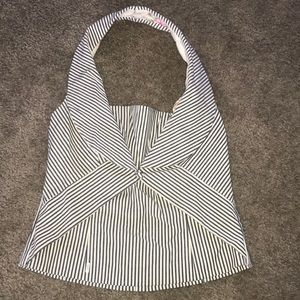 Navy blue and cream striped halter top